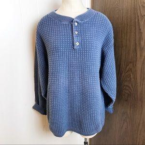 Chunky knit oversized Henley sweater
